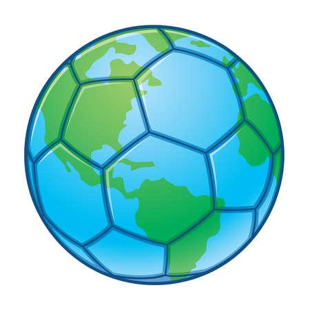 futbol: Pianeta terra World Cup Soccer Ball. illustrazione di un pallone da calcio progettato per apparire come il pianeta terra. Grande per i disegni di Coppa del mondo.