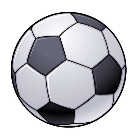 illustration of an isolated black and white soccer ball.