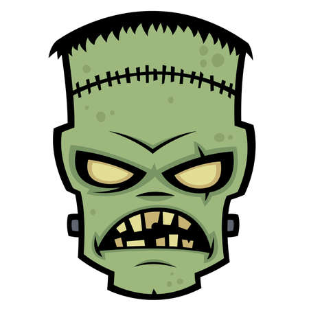Cartoon illustration of a living dead zombie monster.