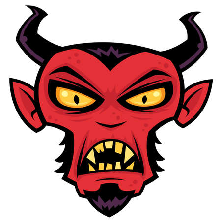 Cartoon illustration of a mean red devil character with horns, goatee, yellow eyes and fangs. Vector