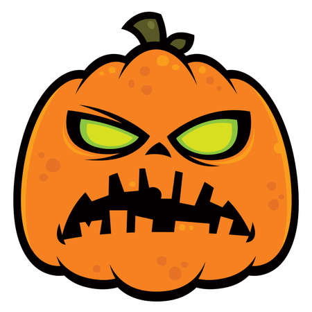 Cartoon illustration of a zombie pumpkin jack-o-lantern with green eyes. Great for Halloween.