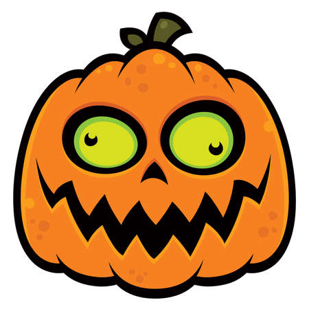 Cartoon illustration of a crazy pumpkin jack-o-lantern with green eyes. Great for Halloween. Ilustração