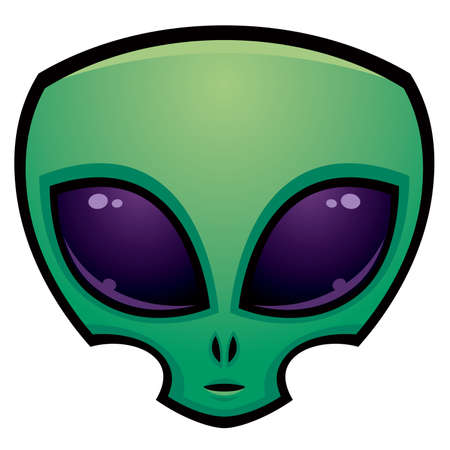 Cartoon alien head illustration with big dark eyes.