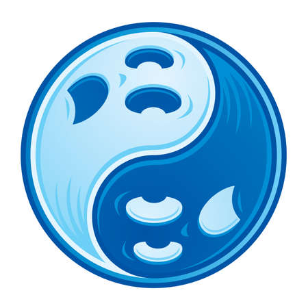 Chinese Yin Yang symbol made from two spooky ghosts in contrasting shades of blue.