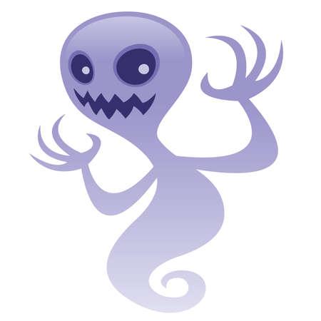 Ilustración de dibujos animados de vector de un personaje fantasma espeluznante con una sonrisa malvada. Gran miedo de Halloween de diseños. BOO!