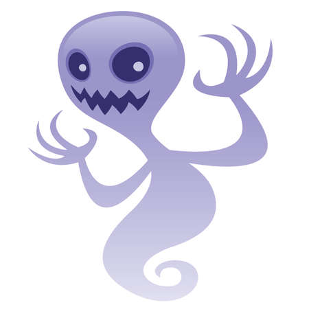 Vector cartoon illustration of a spooky ghost character with an evil grin. Great for scary Halloween designs. BOO!