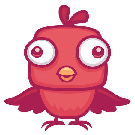 Vector cartoon illustration of a cute baby bird.