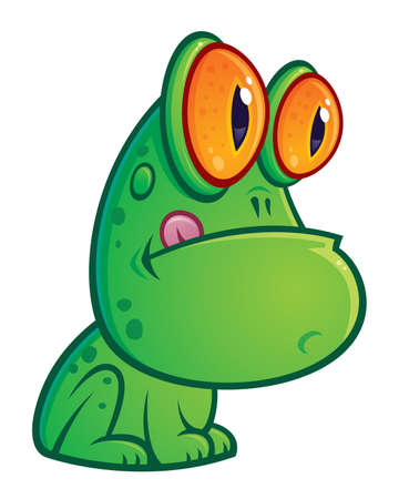 Vector cartoon illustration of a silly green frog with orange eyes sitting with his tongue sticking out. Vector