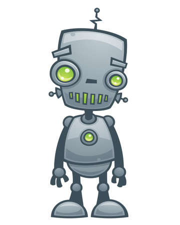 robot cartoon: Cartoon vector illustration of a happy little robot with green eyes.