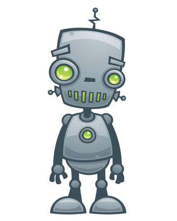 ojos caricatura: Ilustraci�n de vector de dibujos animados de un peque�o robot feliz con ojos verdes.