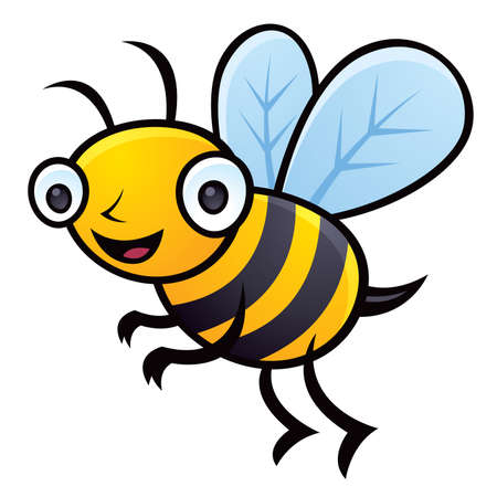 Cartoon Vector illustration of a happy little bumblebee flying. Иллюстрация