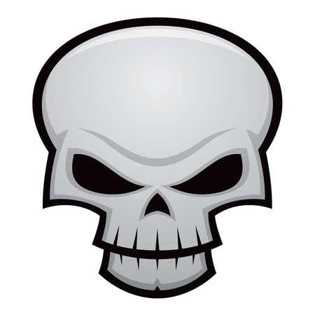 Cartoon Vector Illustration of eine böse, stilisierte Schädel. Ideal für Halloween, Pirat Markierungsfahnen, Warnungen, etc..