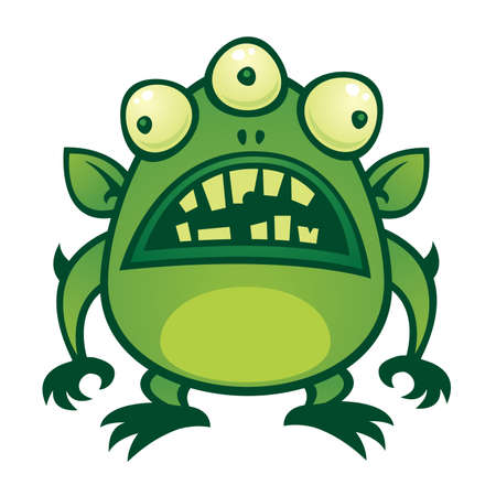 cartoon illustration of an ugly green alien monster with three eyes. Illustration