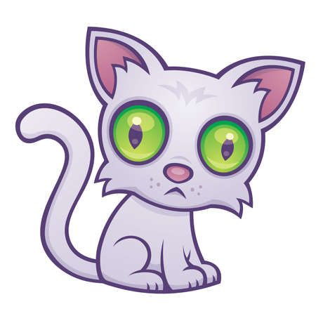cartoon illustration of a cute kitten with big green eyes. Illustration