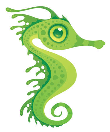 cartoon illustration of a leafy sea dragon seahorse. Illustration