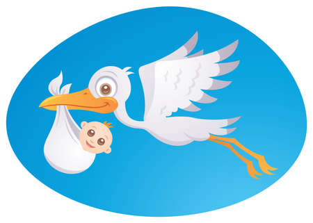 Vector cartoon illustration of a stork delivering a cute little newborn baby. Ilustracja