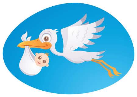 Vector cartoon illustration of a stork delivering a cute little newborn baby. Illustration