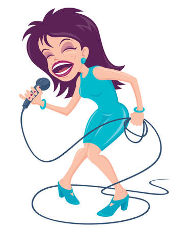 karaoke:  cartoon illustration of a female pop star singer with a big mouth belting out a tune at the top of her lungs.