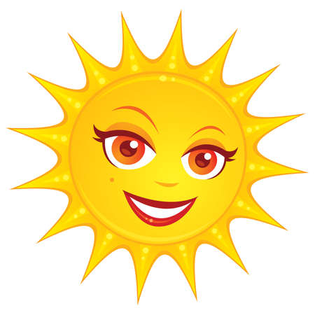 Vector cartoon illustration of a hot smiling summer sun with a pretty female face.