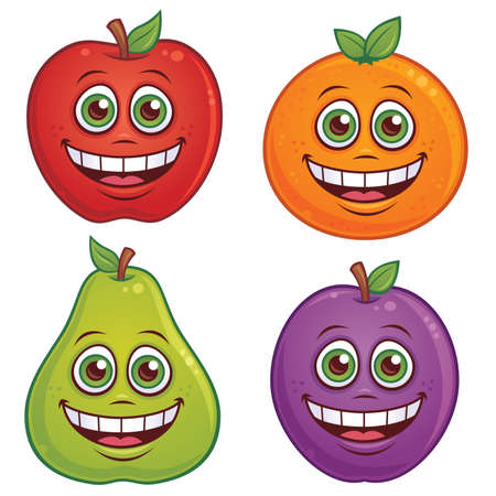 cartoon illustration of fruit with smiling faces. Apple, orange, pear and plum characters included.