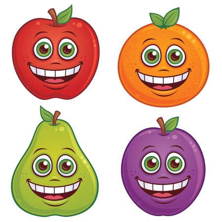 manzana caricatura: Ilustraci�n de dibujos animados de frutas con caras sonrientes. Manzana, naranja, pera y ciruela caracteres incluidos.