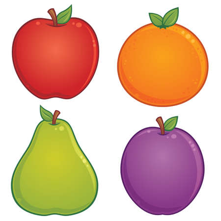 cartoon illustration of various fruit. Apple, orange, pear and plum drawings included.