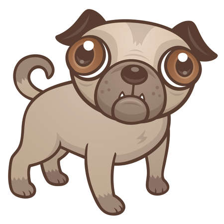 cartoon illustration of a cute Pug puppy dog with really big brown eyes. Иллюстрация