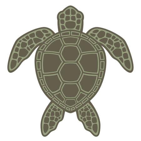 Vector grafische illustratie van een groene zeeschildpad. Stock Illustratie