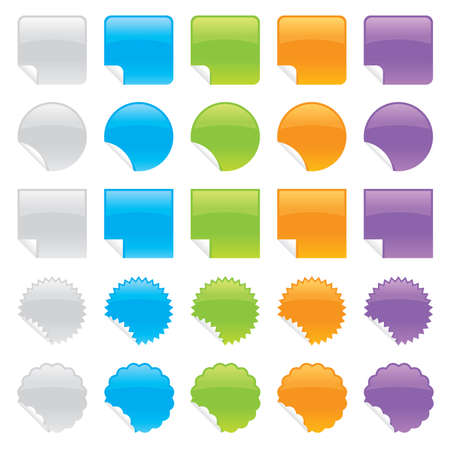 Set of shiny peeling stickers in various colors and shapes.