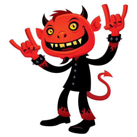 cartoon illustration of a grinning devil character with heavy metal, rock and roll, devil horns hand signs. Ilustração