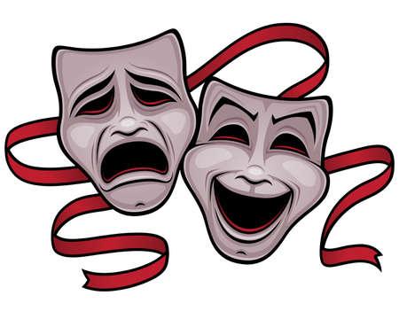 maski: Ilustracja komedii i tragedii masek teatralnych z czerwoną wstążką.