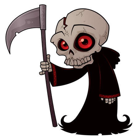 Vector cartoon illustratie van een kleine Magere Hein met rode ogen met een zeis.