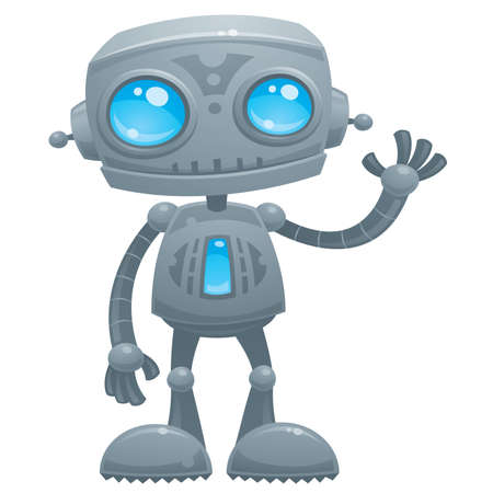 cartoon illustration of a cute and friendly robot with blue eyes waving hello. Ilustracja