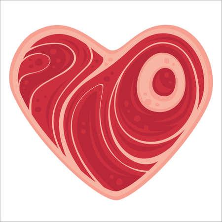 médula: Para todos los amantes de la carne hacia fuera allí. ilustración de dibujos animados de una tajada en forma de corazón de carne.