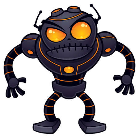 Vector cartoon illustration of an angry robot getting ready for battle. This mean and nasty robot is dark gray with orange eyes and highlights. 일러스트