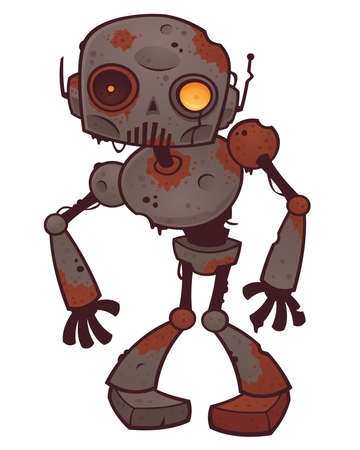 Vector cartoon illustration of a rusty zombie robot with orange eyes.