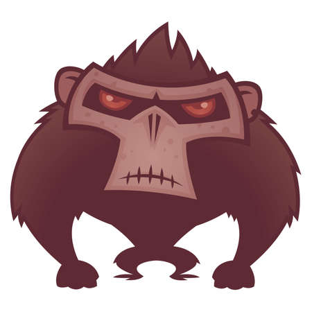 cartoon illustration of an angry ape with red eyes. Иллюстрация