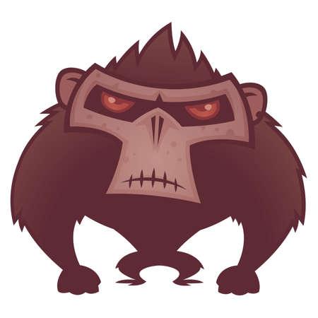 singes: illustration de bande dessin�e d'un singe en col�re avec les yeux rouges.