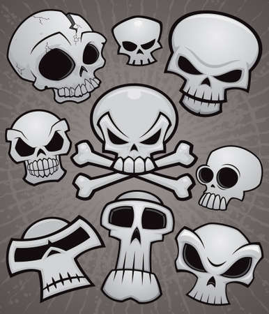 A collection of vector cartoon skulls in various styles. Illustration