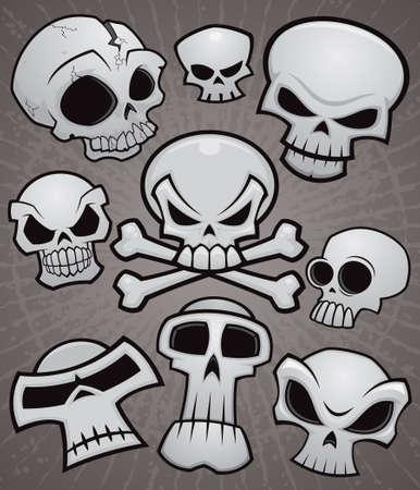 calavera pirata: Una colección de cráneos de dibujos animados de vectores en varios estilos. Vectores