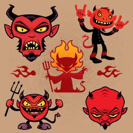 A collection of vector cartoon devil characters in various styles. Vector
