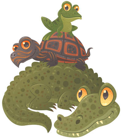 Cartoon vector illustration of an alligator, a turtle and a frog hanging out together, stacked in a pyramid.