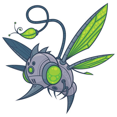 Vector cartoon illustration of a flying robot drone with green eyes and wings. Sadly, he was designed to take the place of hummingbirds, bees and other pollinating insects when they all became extinct. Иллюстрация