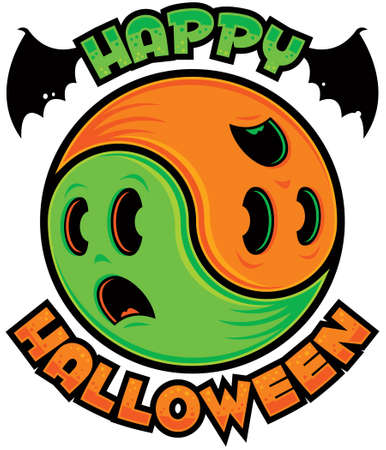 Yin-Yang symbol made from two spooky scared ghosts in green and orange with Happy Halloween text. Illustration
