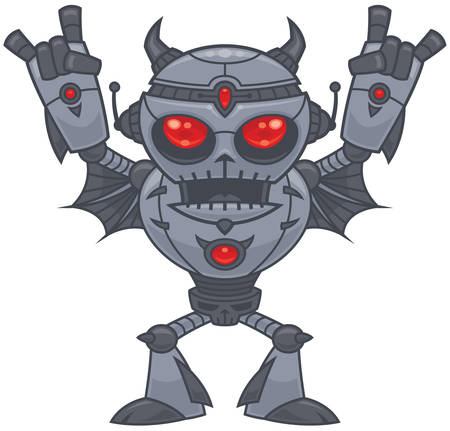 Vector cartoon illustration of a red eyed heavy metal loving robot with devil horn hand gestures.