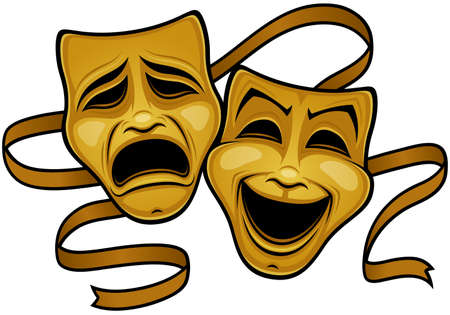 Gold comedy and tragedy theater masks with a gold ribbon. Иллюстрация