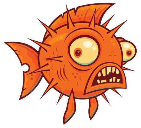 Wacky pufferfish on white Illustration