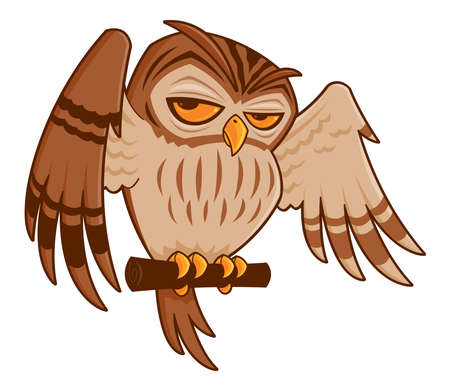 Vector cartoon illustration of a barred owl on a perch with his wings spread.