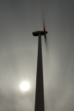 wind turbines in nightfall, wind power Stock Photo