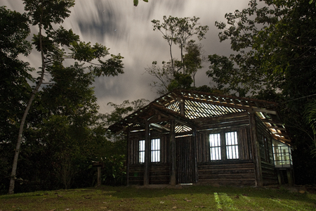 Wooden cabin at night, Costa Rica